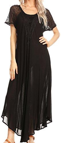 Sakkas 16610 - Hayden gesticktes Lace-Up Kaftan Kleid/Cover mit Ösen Ärmeln - Schwarz - OS -