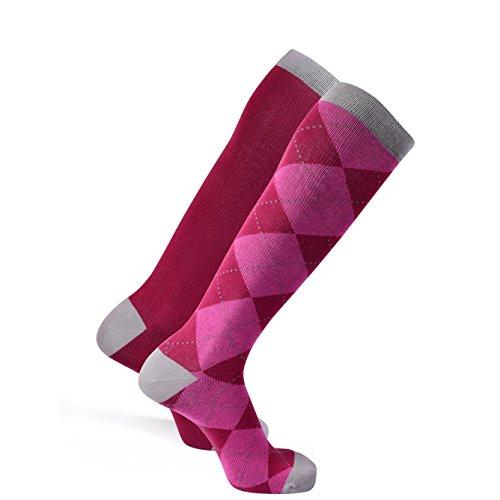 Kompression Socken für Trainiert, Schwangerschaft, Reisen oder allgemeine Komfort durch Saga Socken, 2 Pack, Argyle und rosa (Kompression-socken)