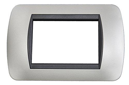 BES 22568 Placchetta Compatibile Living, 3 Posti Copri Interruttore, Argento