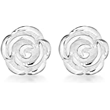 Tuscany Silver Sterling Silver 8 mm Rose Stud Earrings VecFVWD