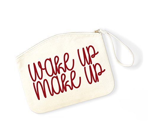 Wake Up, Make Up - Fun Slogan, Make Up Pouch, Accessory Organiser Natural/Red