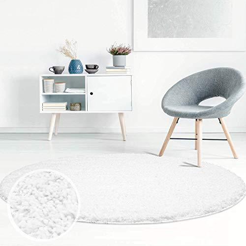 ayshaggy Shaggy Teppich Hochflor Langflor Einfarbig Uni Weiß Weich Flauschig Wohnzimmer, Größe: 160 x 160 cm Rund