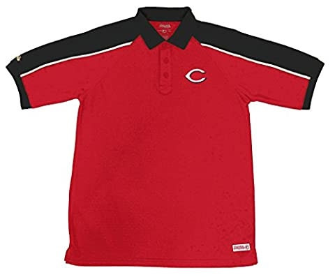 MLB Cincinnati Reds Color Blocked Polo with Lined Mini Mesh Panels, Red, Large