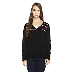 Rangmanch by Pantaloons Womens Plain/Solid Cardigan_Black_L
