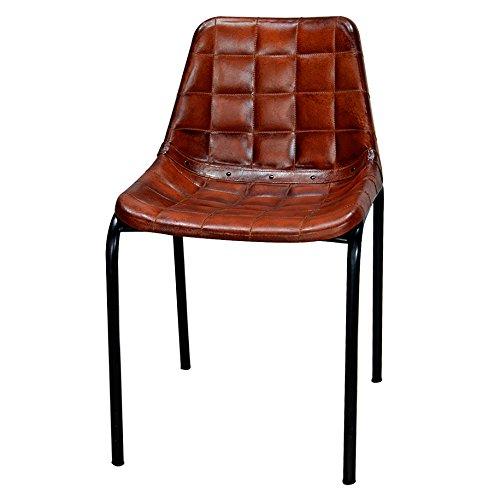 Decoración Vintage James - Silla, estructura de de hierro negro, tapa de símil piel, 47 x 46 x 79 cm, color marrón
