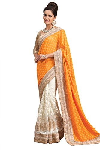 Chirag Sarees Synthetic Saree (2448-B_Yellow)
