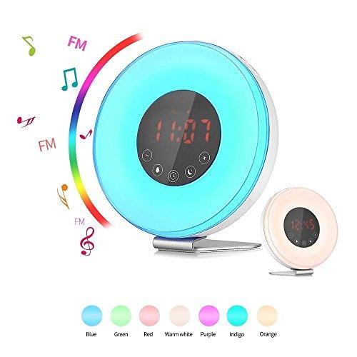 Wake Up Licht Wecker, SMARTRO Wecker Kinder Lichtwecker mit Sonnenaufgang Simulation Dämmerung Fading Nachtlicht, Natur Sounds 7 Color, FM Radio, Touch Control
