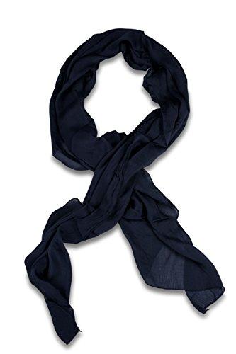 FashionCHIMP Schal aus Baumwolle und Seide für Damen in kräftigen Uni-Farben und modernem Schnitt, Tuch (Marineblau)