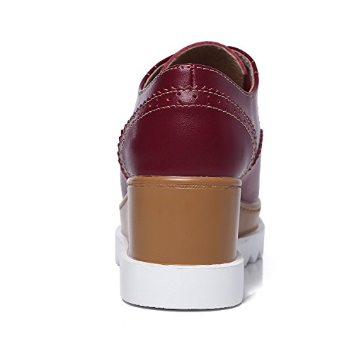 7b0f6d5d8d7d91 ... JRenok Chaussures Femme de Ville Brogues Derbies Baskets Lacets Casuel  Mocassins Compensé à Haute Talon 6.5 ...
