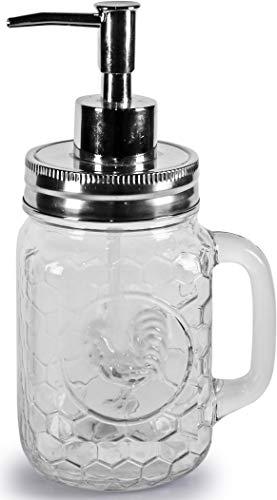 Circleware Hahn Mason Jar Becher Glas Seifenspender Flasche Pumpe mit Griff 17,5 Unzen klar