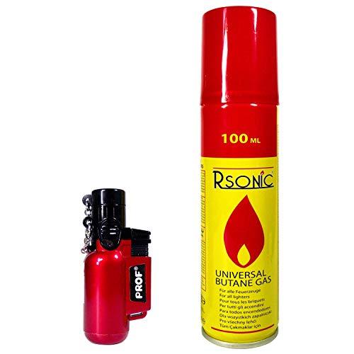 Jet Lighter + 100ml Gas per riempimento.  Accendino a gas, compatto, Diversi colori; Ricaricabile Torch Lighter, Jetlighter & Gas