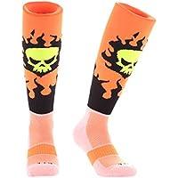 Samson Strumpfwaren® Flame Skull Print Funky Neuheit Fashion Geschenk Socken Fußball Rugby Sport und Casual Knie Hohe Socken für Männer Frauen Kinder unisex