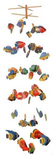 Mobile VERSCHIEDENE FISCHE 50-teilig, aus Albesia-Holz, Windspiel Fisch Mobile