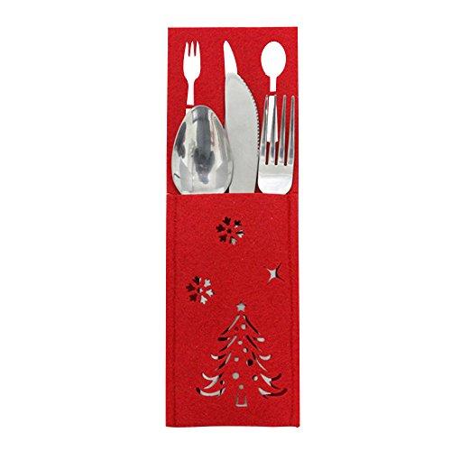 Hirolan 10 Stück Weihnachten Kappen Besteck Halter Gabel Löffel Tasche Weihnachten Dekor Tasche Nikolaussocke Weihnachts Socke Geschenk Tasche für Kinder Weihnachten Deko (A 22 * ()
