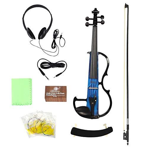 RiToEasysports Violine Elektrische Violine Holzvioline IRIN AU-05 Elektrische Violine Massives Ahornholz mit Beschlägen für professionelle Leistung (Blau)
