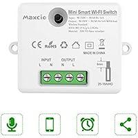 Alexa Mini Interruptor WiFi, Maxcio Interruptor Inalámbrico Inteligente, Conmutador WiFi Control Remoto con Temporizador, Compatible con Echo, Dot, Google Home(1 Pack)