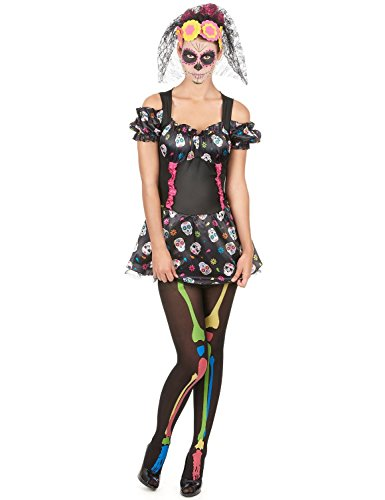 (Gr. 36-38 Buntes Totenkopf Kostüm zum Tag der Toten für Damen Horror Karneval Halloween 79078 Day of the dead)