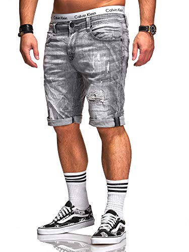 Rello & Reese Herren Destroy Designer Shorts Jeans Kurze Hose Sommer Bermuda (W31, 1918 (Grau)) Jeans Designer-jeans