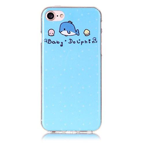 iPhone 7 Hülle,iPhone 7 Silikon Case,iPhone 7 Cover - Felfy Ultra Dünne Weicher Slim Gel Flexible Soft TPU Silikon Hülle Schutzhülle Silikon Hülle Muster Farbmalerei Beschützer Hülle Handy Durchsichti Dolphins