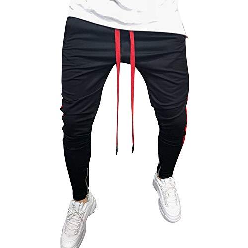 CAOQAO Pantaloncini da Uomo Pantaloncini Jeans/Pantaloni Sportivi da Uomo Casual Moda Casual Hip Hop Fitness con Cerniera Lampo/Rosso/M-3XL