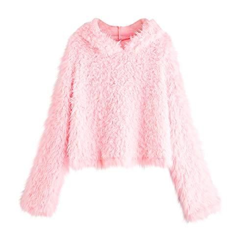 TWIFER Damen Langarm Plüsch Pullover mit Kapuze Rundhals Sweatshirt Bluse - Trikot Kurzarm Ringer T-shirt