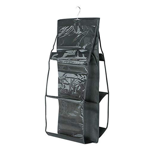 Forart 6 Tasche Handtasche Anti-Staub-Abdeckung klar hängenden Handtasche Organizer staubdicht Clutch Aufbewahrungstasche Halter Garderobe Schrank Raumwunder (Klar Shelf Organizer)