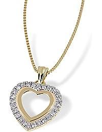 Goldmaid Damen-Collier Herz 585 Gelbgold 26 Diamanten 0,25ct He C3268GG