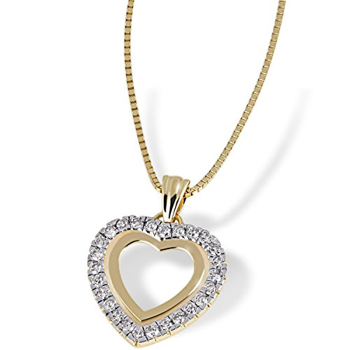 Goldmaid Damen-Collier Herz 585 Gelbgold 26 Diamanten 0,25ct He C3268GG