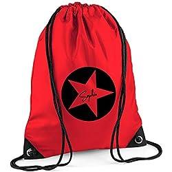 Turnbeutel mit Namen | Motiv Stern Sterne inkl. Namensdruck | Personalisieren & Bedrucken | Sportbeutel Schuhbeutel dunkel-blau für Jungen & Mädchen Kinder | Rucksack zum Zuziehen (rot)