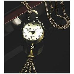 Kolylong Retro Vintage Bronze Quartz Ball Glass Pocket Watch Necklace Chain Steampunk style