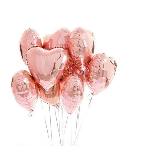 18 Zoll Folienballon Rosegold Herz Ballons Luftballons Hochzeit Rose Gold für Geburtstag, Brautdusche, Party Dekoration, Valentinstag, Muttertag Dekoration ()