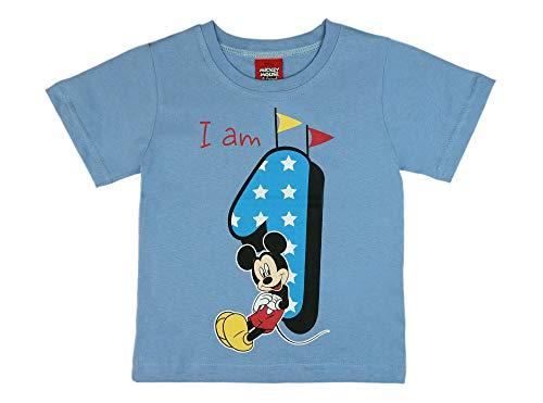 Jungen Baby Kinder 1. erster Geburtstag Kurzarm T-Shirt 1 Jahre Baumwolle Birthday Outfit GRÖSSE 86 Mickey Mouse Disney Design in Weiss oder Blau Babyshirt Oberteil Hemd Polo Farbe Blau