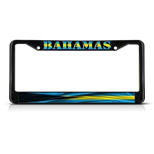 Nummernschild Rahmen Bahamas Bahamas gewellt Flagge Metall schwarz Nummernschild Rahmen Tag Halter