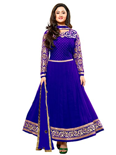 Varanga Blue Faux georgette anarkali semi stitched salwar suits KFKAY21003