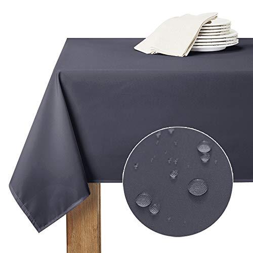 RYB HOME Nappes Rectangulaires Anti Taches - 150 x 213 cm Gris Foncé Nappe Etanche Imperméable de Cuisine Tissu Uni Polyester pour Salle à Manger/Extérieur Usag