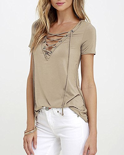 DianShao Donne Casual V-Neck T-Shirt Top Manica Corta Camicetta Casual Cachi