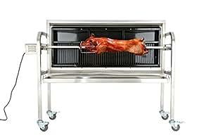 CLP Barbecue tourne broche éléctrique BARNY, Rotissoire verticale avec beaucoup d´accessoires, surface d´embrochage 101 cm, grille 126 x 50 Argent