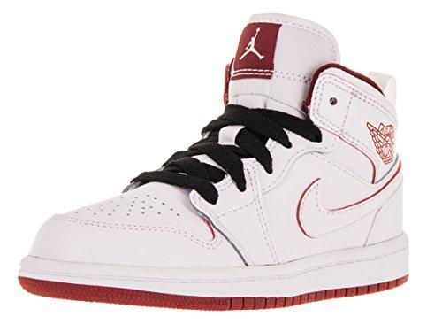 Nike Jordan Kids Jordan 1Mid BP Basketball Schuh, weiß - White/Gym Red/Black - Größe: 29 EU M Kleines kind (Jordan 29 Jungen Schuhe)