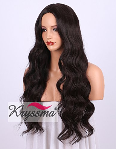 K 'ryssma Burgundy wavy synthetisch Long wigs for Black Women Natural Looking Middle Part goedkope Wig Heat Safe 24 inch # (Perücke Lady First)