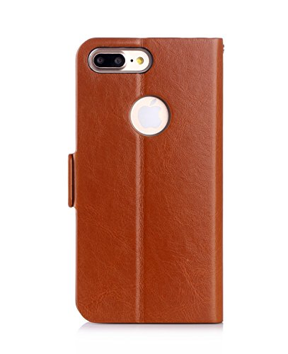 Coque iPhone 7 Plus, AVIDET Bookstyle Étui Housse en Cuir Case à rabat pour iPhone 7 Plus étui case cover coque avec fonction de support et fente (Rouge) Marron