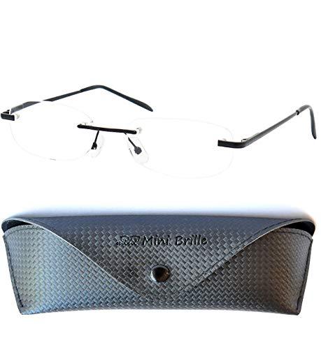 Leichte Metall Lesebrille Randlos mit Ovalen Gläsern - inklusive GRATIS Etui und Brillenputztuch | Edelstahl Rahmen (Schwarz) mit Federscharnier | Lesehilfe für Damen und Herren | +2.0 Dioptrien