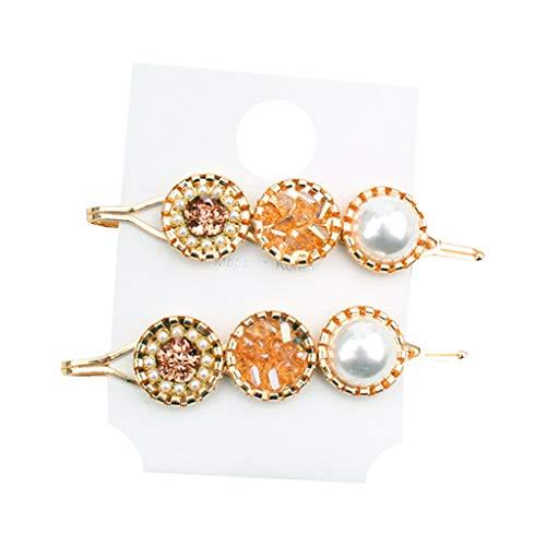 Lifet 2Pcs Haarspangen Perlen Metall Gold Haarnadeln Strass Haarklammern Haarnadeln Haarschmuck Für Damen Mädchen -