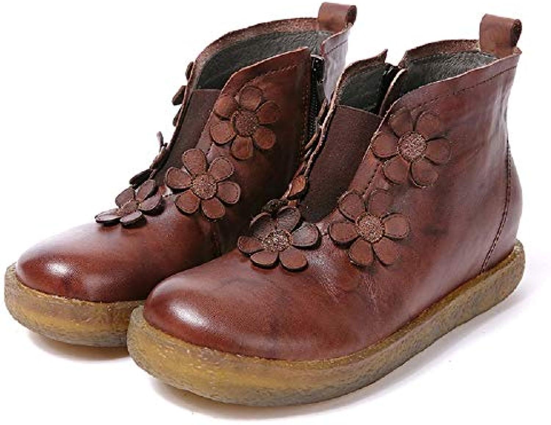 Fuxitoggo Bottes Marron en Cuir Faites Main à la Main Faites de Chaussures de Fleur (coloré : Marron, Taille : EU 39) 10c462