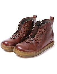 Gaslinyuan Zapatos De Flores De Las Mujeres Hechas A Mano De Cuero con  Cremallera Marrón Botas (Color   Marrón fc2416509379