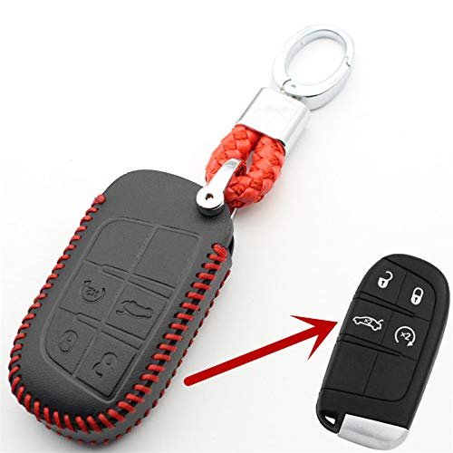 WHXHN Echtes Leder Schlüsselbund 4-Tasten-Schlüsseletui, für Jeep Grand Cherokee Compass Patriot, für Chrysler -