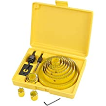 QLOUNI Kit de 17pcs Juego de Abrepuertas Carpenter - Sierra de Corona 19mm - 127mm Juego