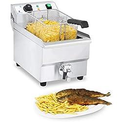 Royal Catering Friteuse Électrique Friteuse Professionnelle RCEF 10EH-1 (3 000 W, 10 L Au Total / 9 L D'Huile, Thermostat, 60-200 °C, Robinet de vidange, Acier Inox)