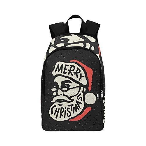 Weihnachtsmann Kopf Cartoon Charakter Fröhlich Lässig Daypack Reisetasche College School Rucksack Für Männer Und Frauen -