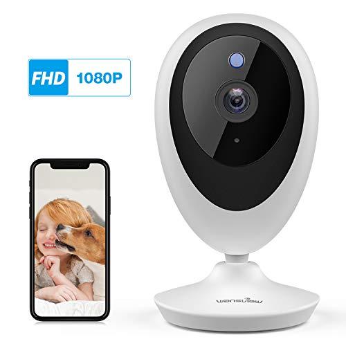 Telecamera di sorveglianza wifi, wansview 1080p videocamera wifi per casa bambini anziani pet con rilevamento di movimento, audio bidirezionale, compatibile con alexa k5 bianco