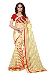 Aruna Sarees Net Saree With Blouse Piece (Setting Red_Beige_Free Size)